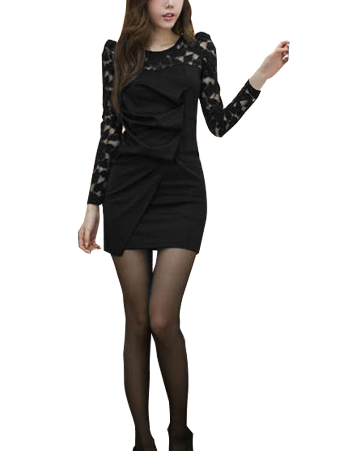Women Scoop Neck Long Sleeves Lace Shoulder Ruched Front Black Dress XS