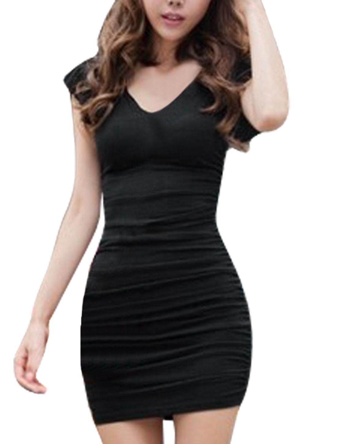 Women Ruffled Sleeves Double Deep V Neck Bandage Side Elastic Shirr Black Dress XS