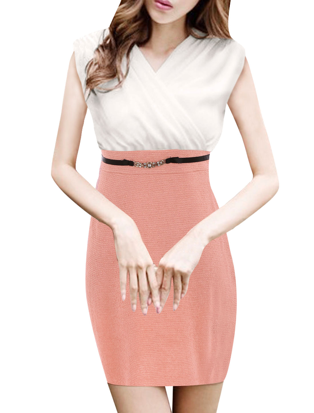 Women Double Crossover V Neck Sleeveless Belted Waist Sheath White Pink Dress XS