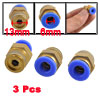"3 Pcs 6mm Tube 1/4"" Thread One Touch Air Pneumatic Quick Coupler Connectors"