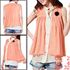 Ladies Sheerness Tiered Pleated Pink Chiffon Sleeveless Blouse XS