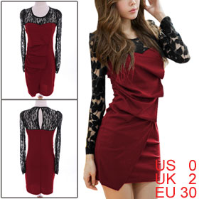 Ladies Long Sleeves Lace Shoulder Scoop Neck Cutout Shoulder Irregular Front Red Dress XS