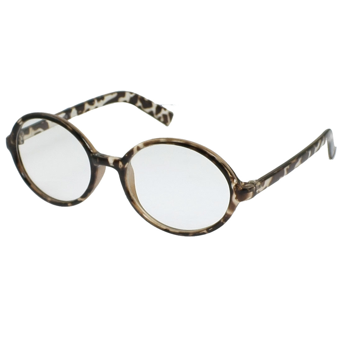 Women Brown Leopard Pattern Frame Clear Round Lens Plain Glasses