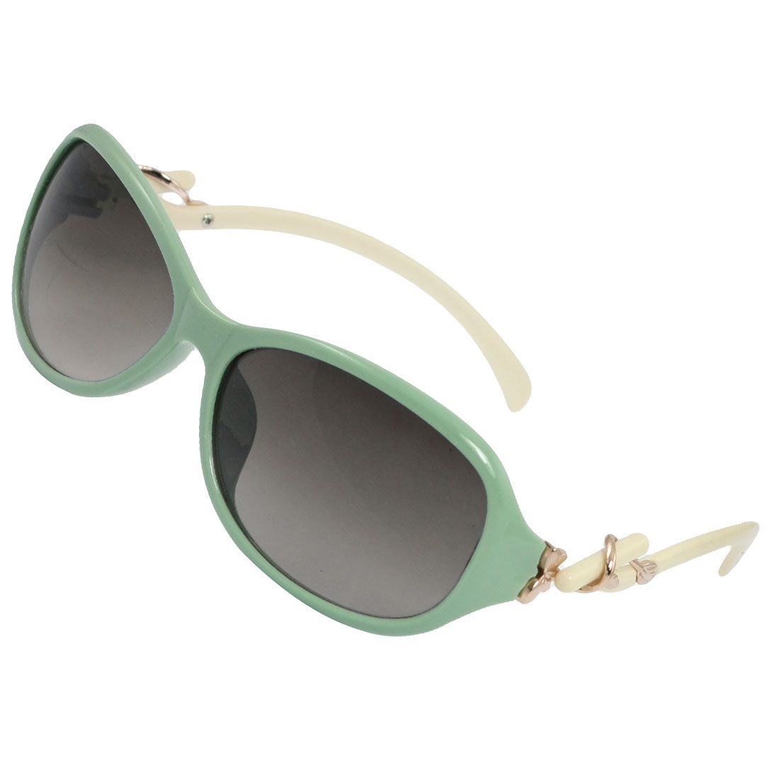 Woman Green Rims Metal Flower Leaf Decor Ivory Plastic Arms Sunglasses