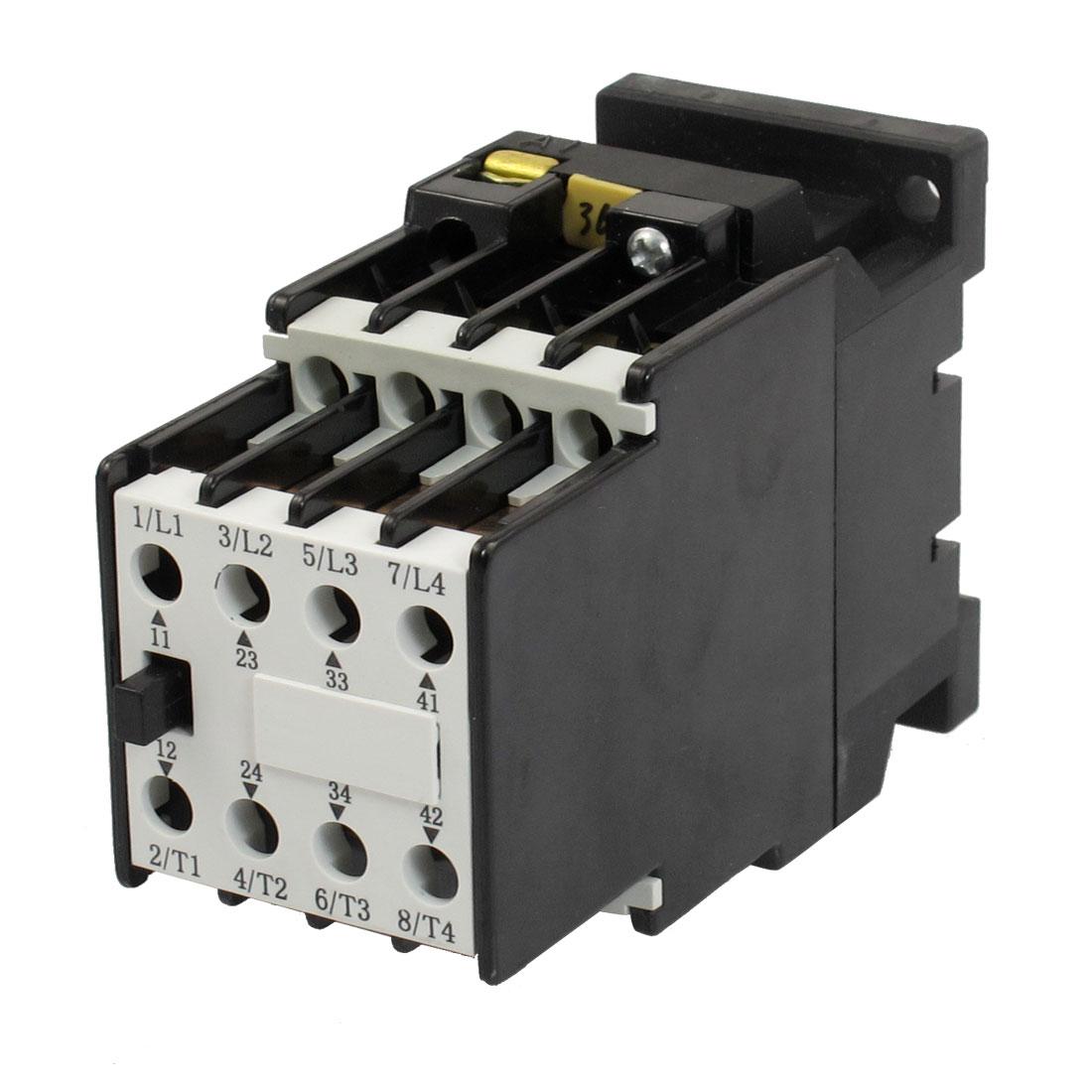 36V 50Hz Coil 5.2A Three Poles 2NO 2NC 35mm Mounting Rail 4KW AC Contactor