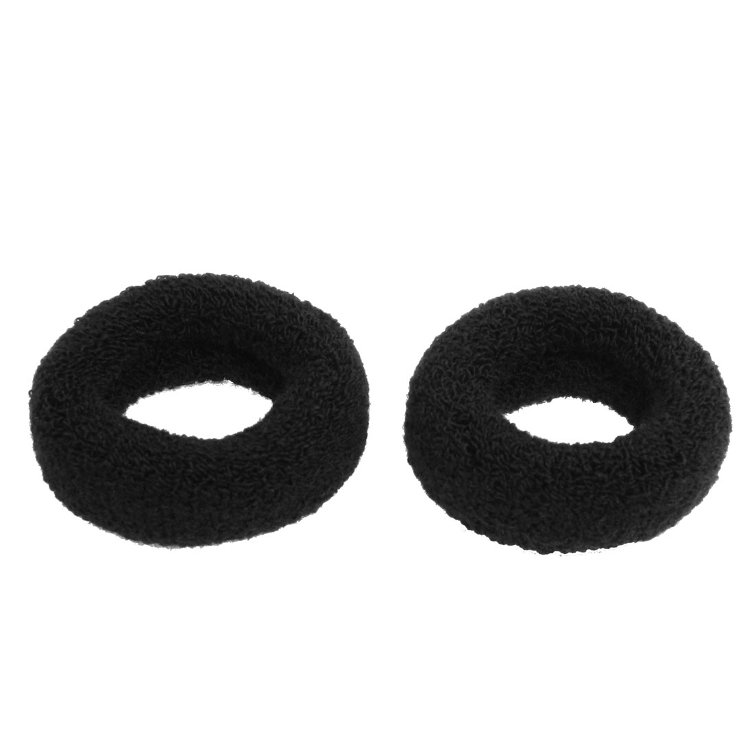 2 Pcs Woman Elastic Solid Black Wide Plush Hair Tie Band