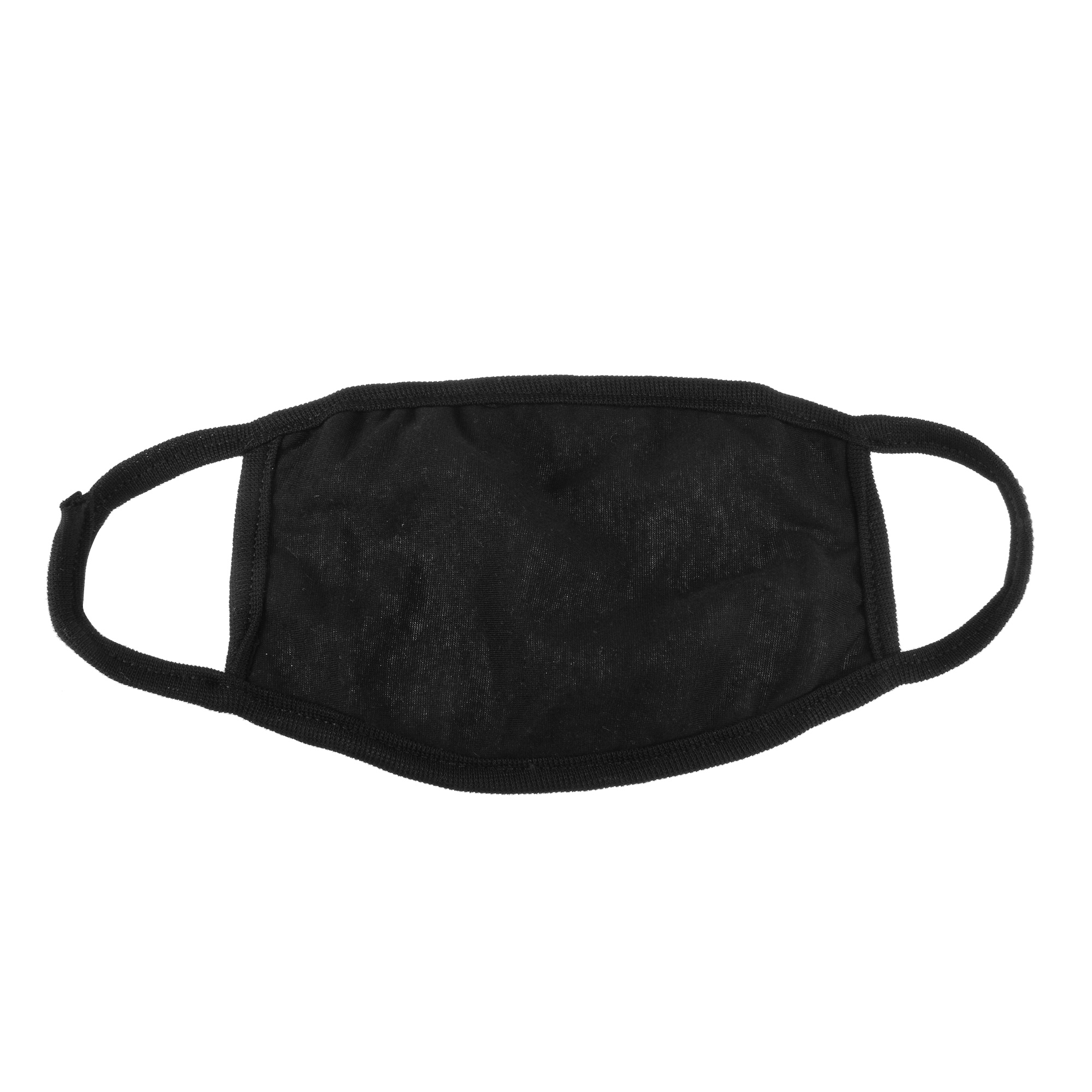 Lady Women Solid Black Ear Loop Face Mouth Mask Muffle