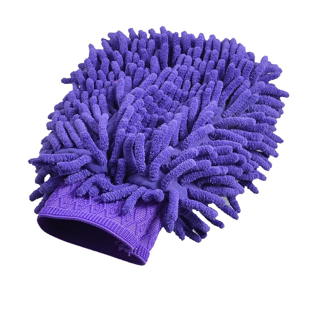 Car 23cm x 15cm Purple Dual Sides Microfiber Chenille Wash Mitten Glove