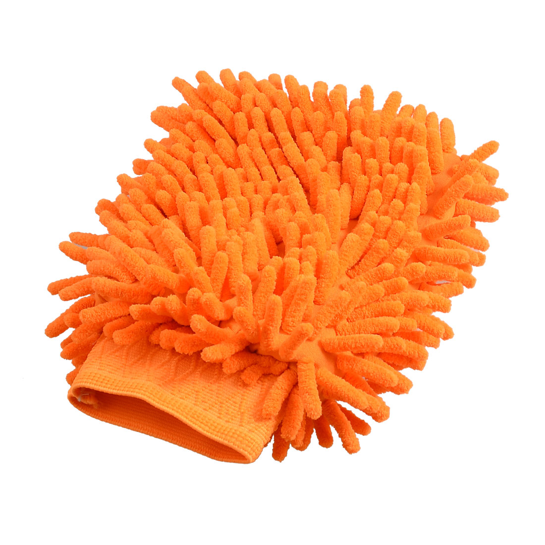 Car 23cm x 15cm Orange Dual Sides Microfiber Chenille Wash Mitt Glove