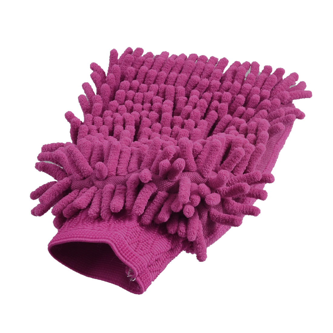 Car 23cm x 15cm Fuchsia Single Side Microfiber Chenille Wash Mitt Glove