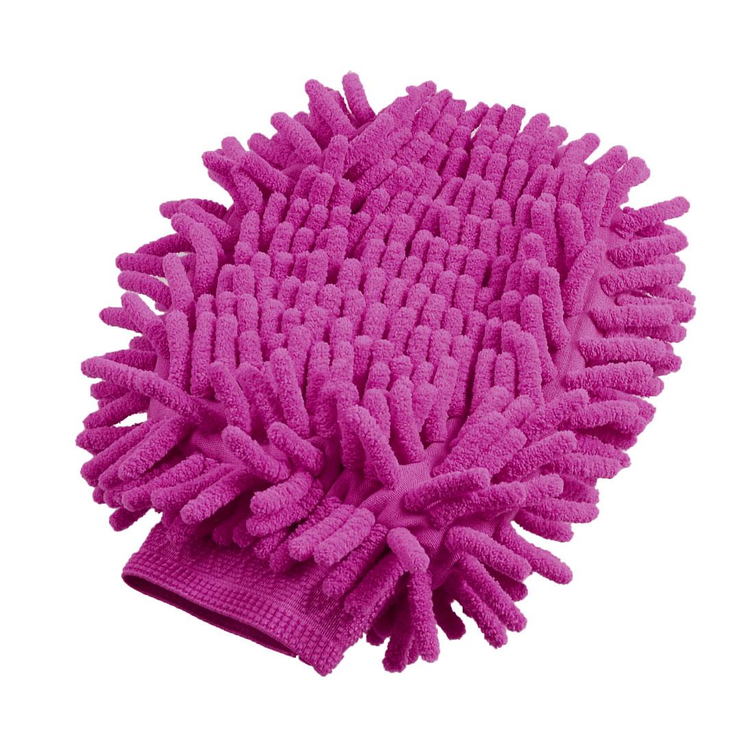 Auto Elastic Cuff Double Sides Microfiber Chenille Mitt Clean Glove Fuchsia