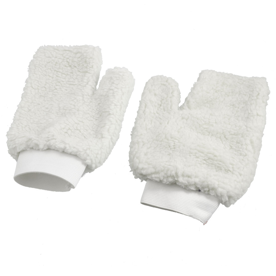 Pair White Faux Wool Washing Gloves Mitts for Car Auto