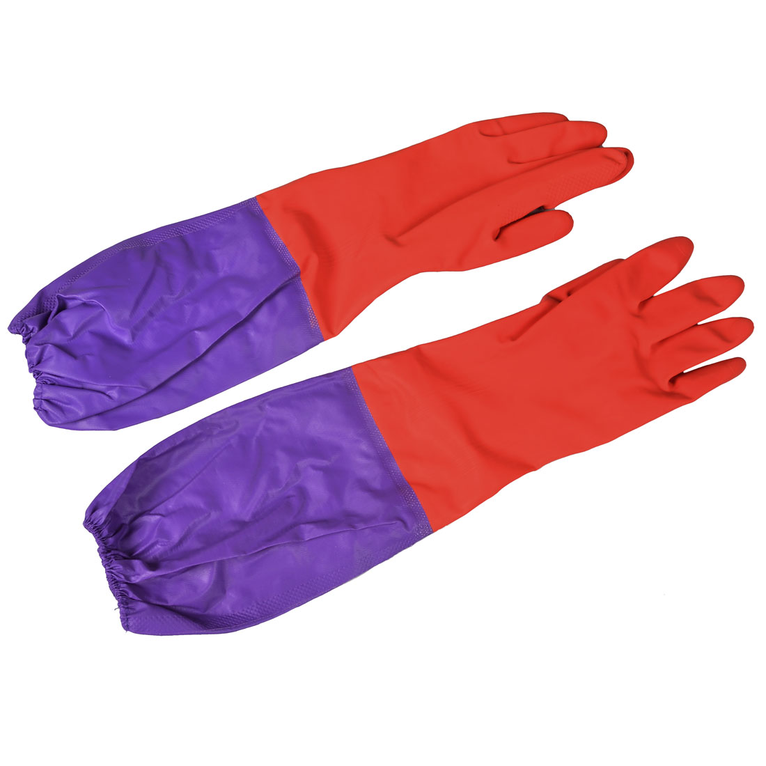 Pair Household Dish Cleaning Elbow Long Nonslip Full Fingers Latex Gloves