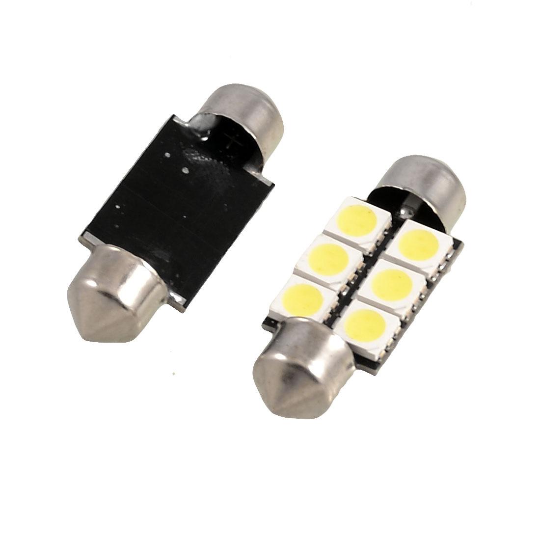 2 x Car 35mm White 5050 6 SMD Festoon LED Light Bulbs DC 12V