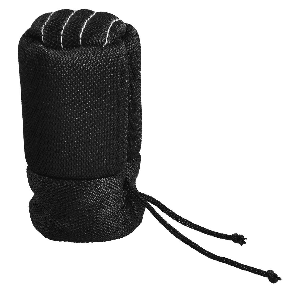 Car Vehicle Black Nylon Drawstring Closure Shift Knob Boot Cover