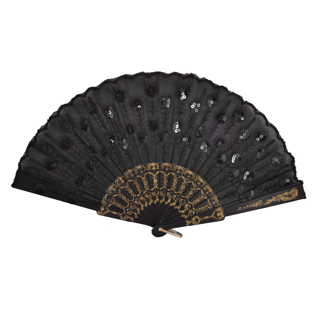 Black Plastic Frame Embroidery Flower Detail Folding Hand Fan