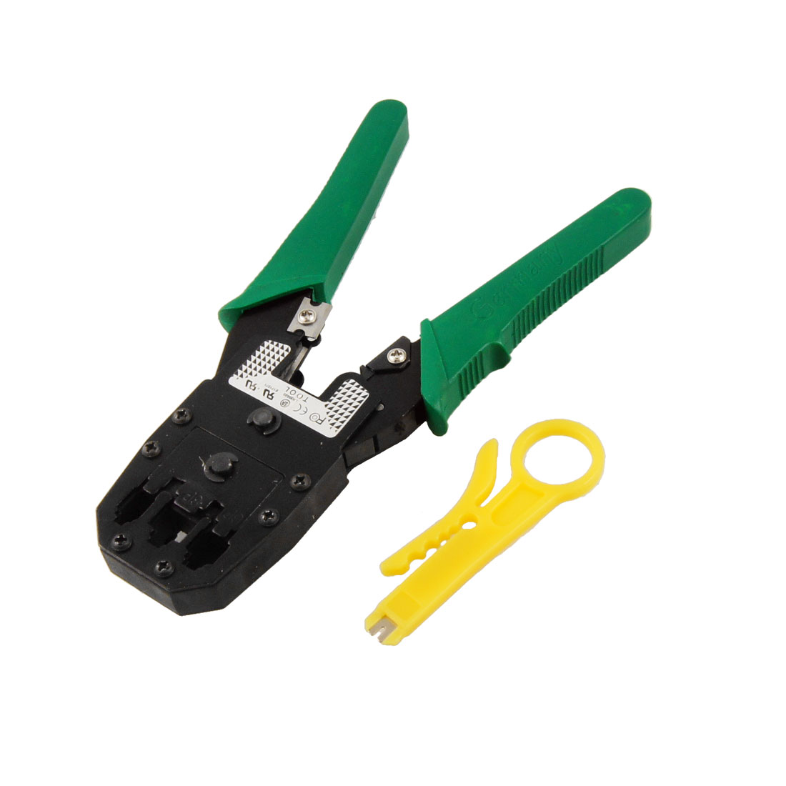 Green Handle 4P 6P 8P Connector Cat5e Cat6 Network Cable Crimping Plier 7.7""