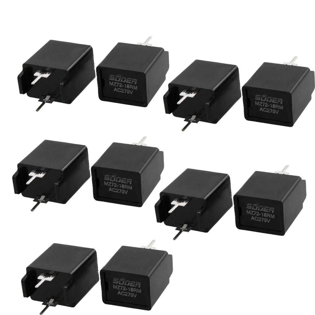 MZ72-18RM 18 Ohm AC 270V 2 Pin Black Degaussing Resistor CRT 10 Pcs