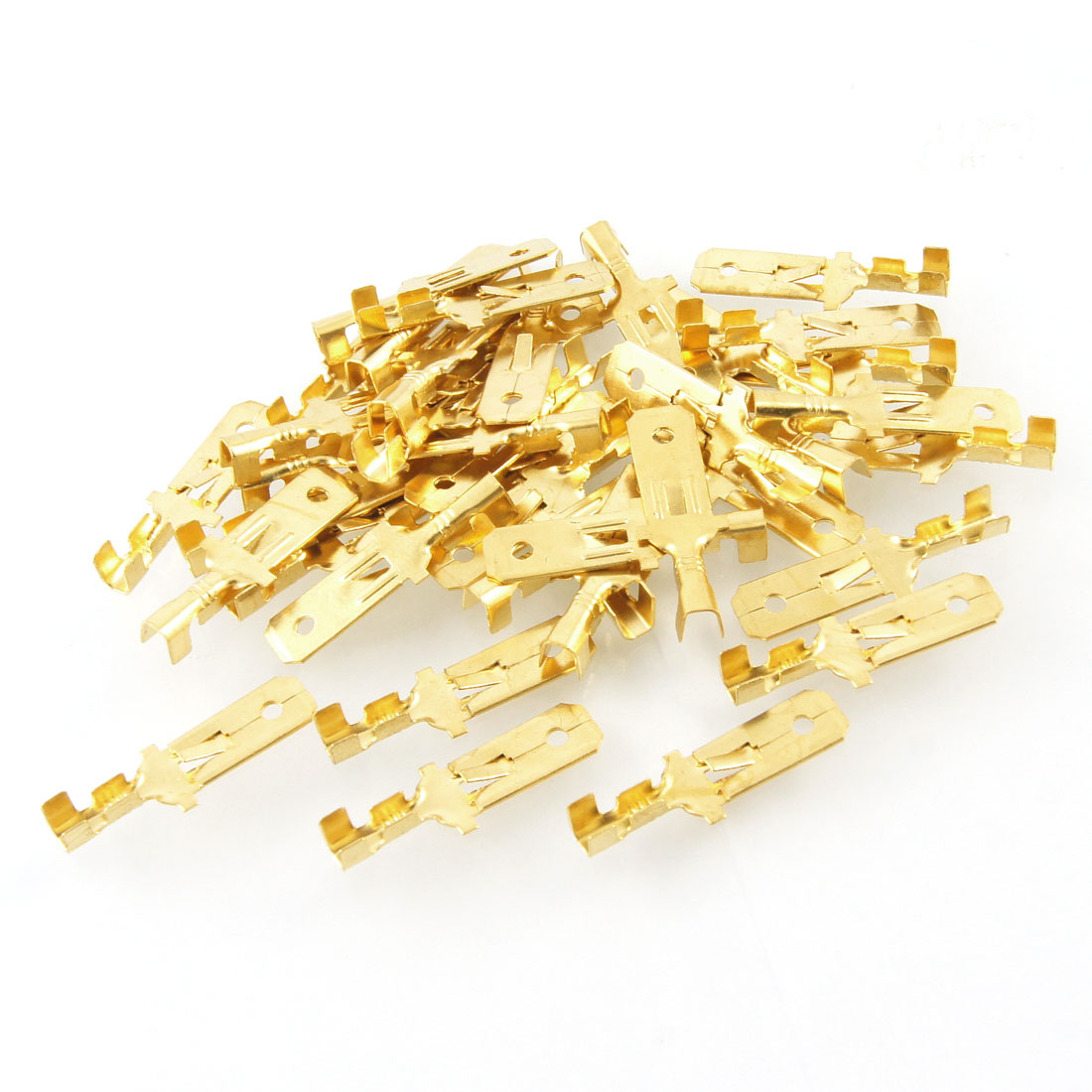 40 Pcs Gold Tone Male Spade Crimp Terminals 25mm Long Wiring Connectors
