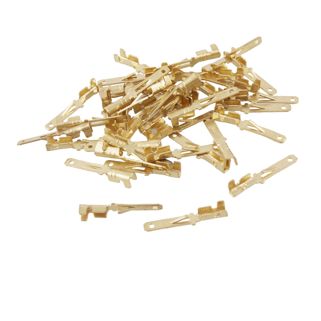 40 Pcs Gold Tone Male Spade Crimp Terminals 2mm Wiring Connectors