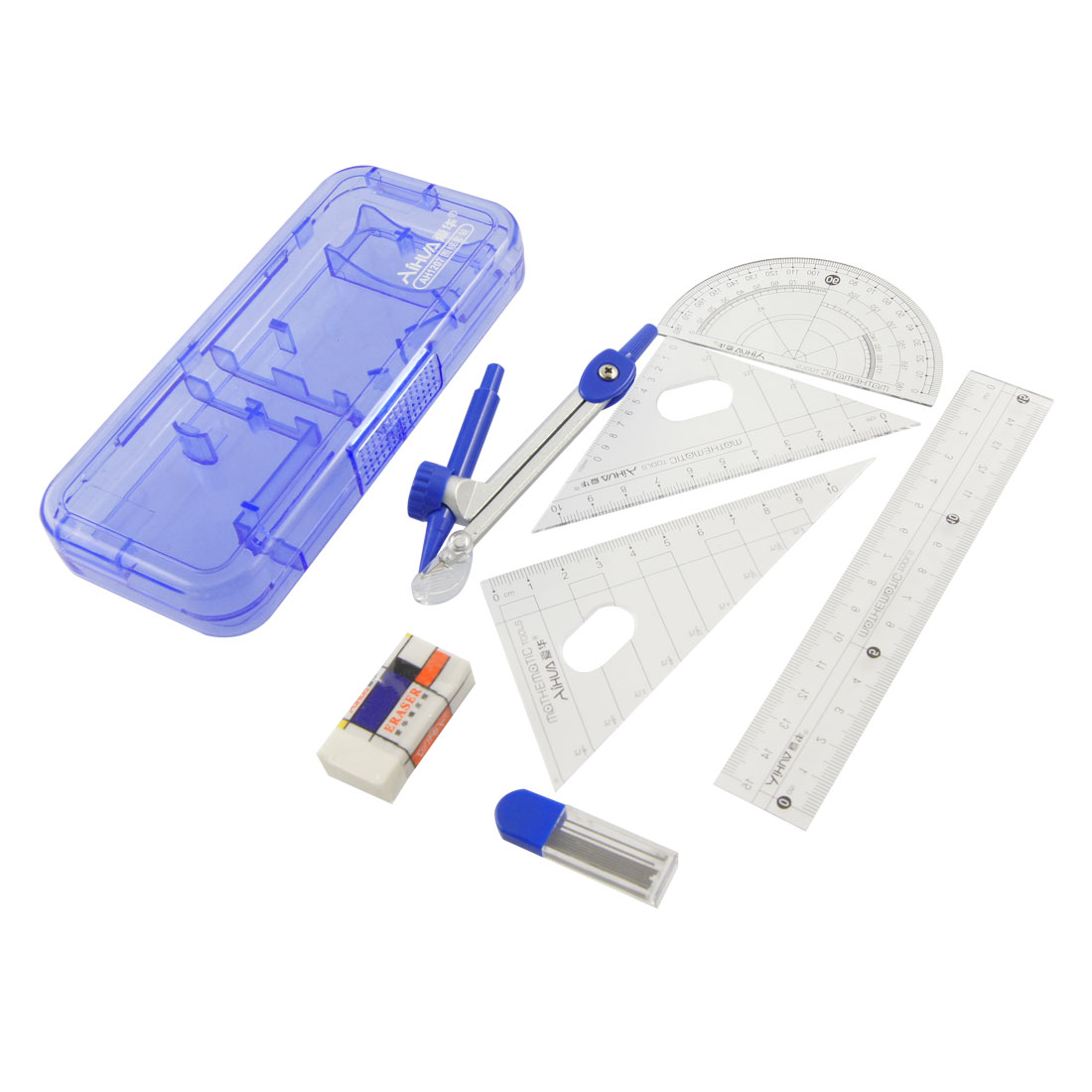 Ruler Eraser Drawing Compass Tool Clear Blue 7 in 1 Set for