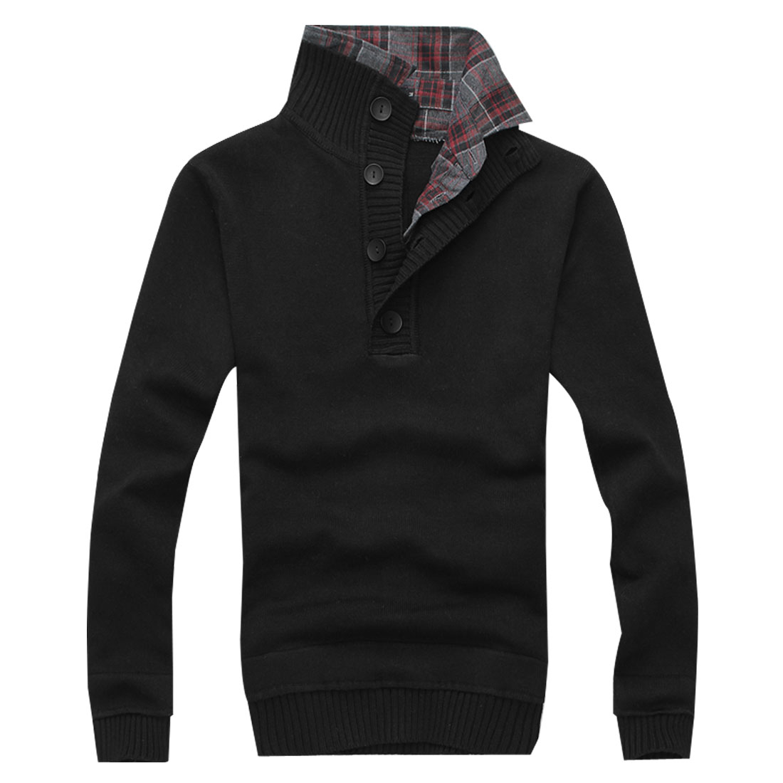Men Black NEW Stretchy Solid Color Long Sleeve Casual Knitting Shirt S