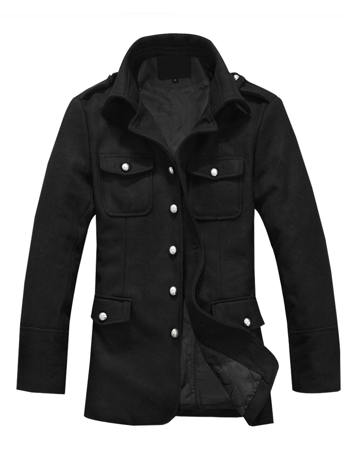 Mens Black Single Breasted Button-tab Solid Color Four Pockets Casual Coat S