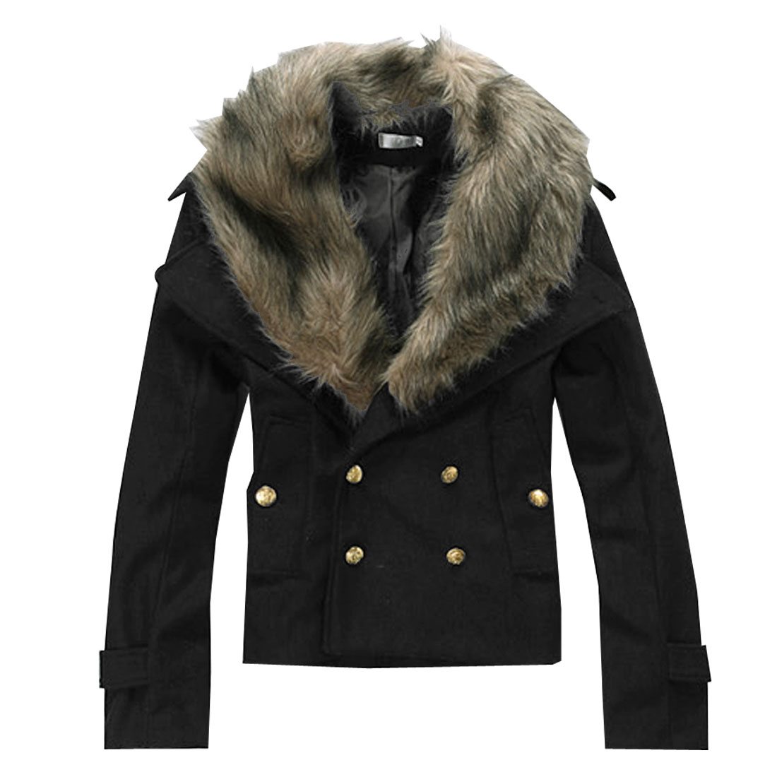 Mens Black Fashion Faux Fur Collar Button Closure Slant Pockets Winter Coat S