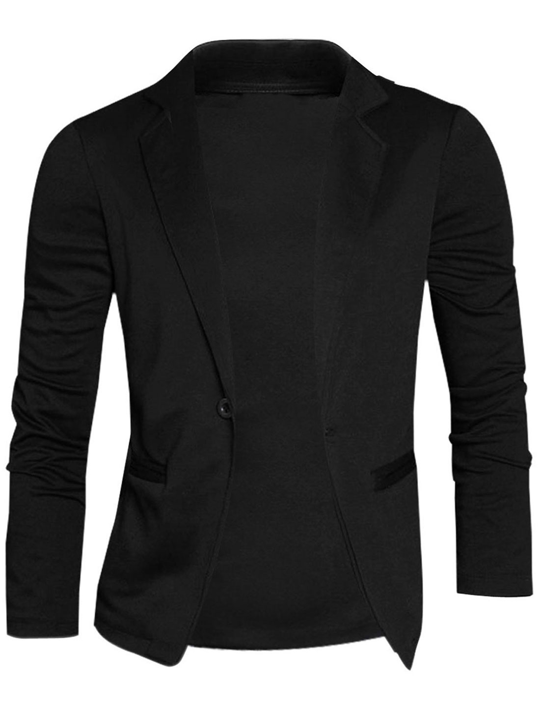 Mens Black Korean Single Button Closure Solid Color Stretchy Pockets Frong Blazer M
