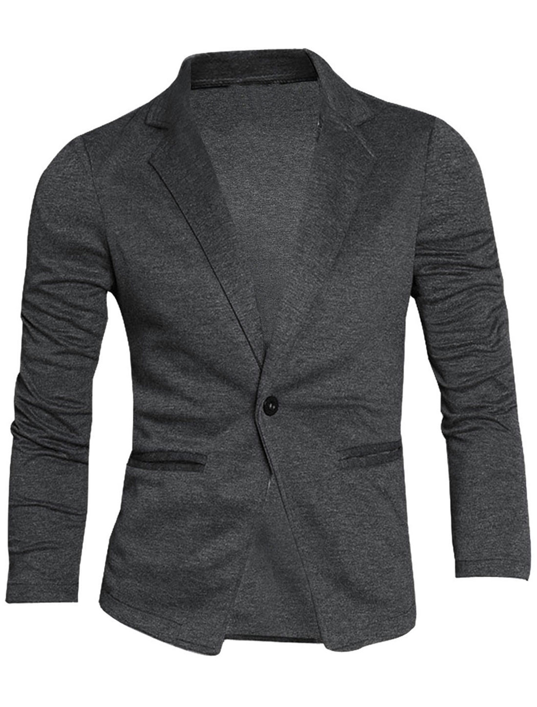Men Dark Gray Fashion Long Sleeve Stretchy One Button Pockets Detail Blazer M