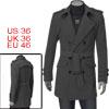Mens Dark Gray Long Sleeve Button Down Button-tab Pockets Detail Winter Coat S