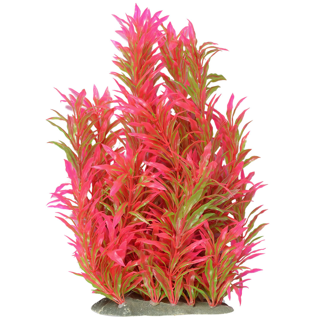 "Aquariums Hot Pink Green Linear Leaves Simulation Strip Plant Decor 11"" Height"