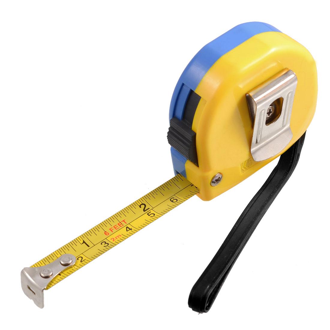 2M 6Ft Retractable Metric English Ruler Tape Carpenter Measuring Tool