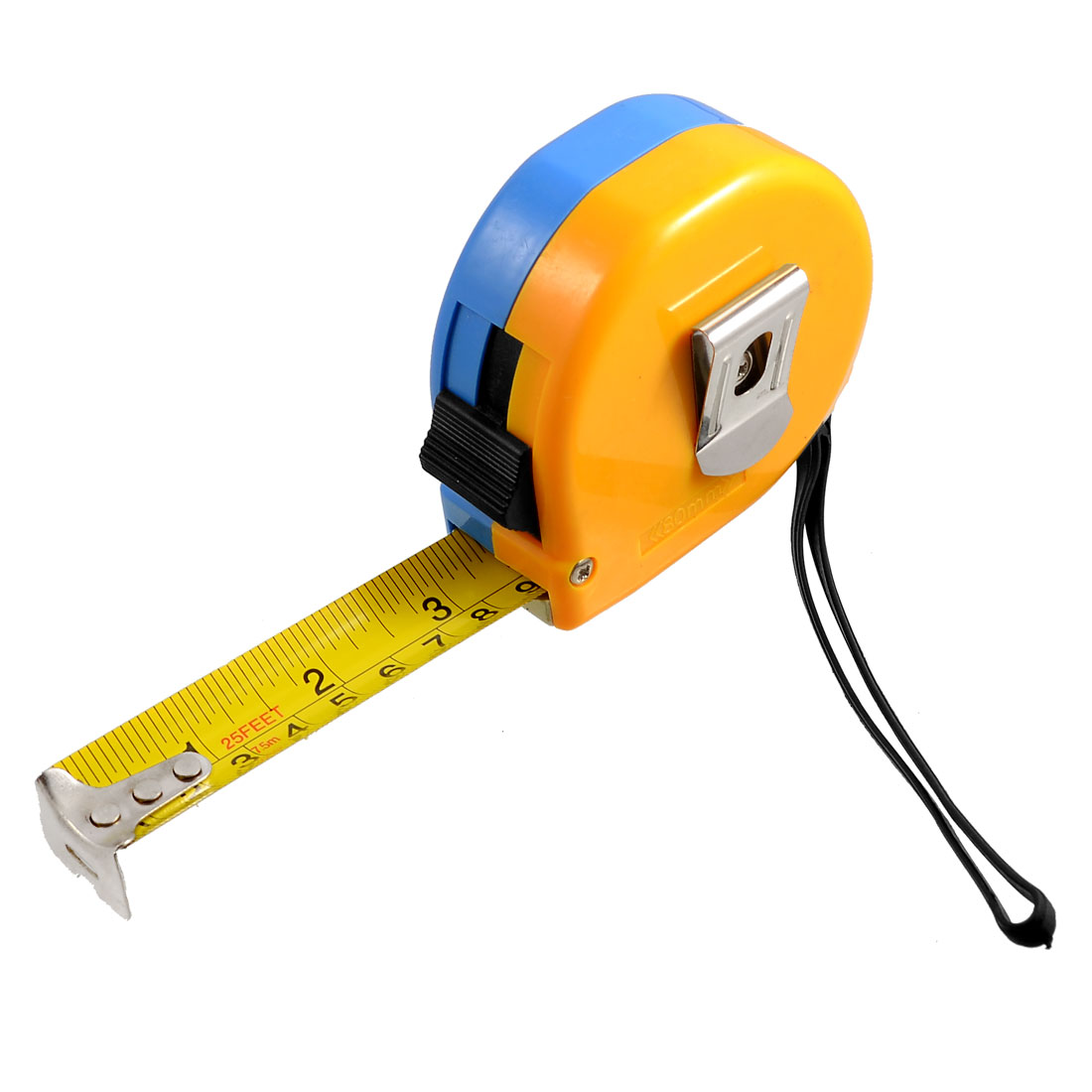 Yellow Blue Housing Retractable English Metric Ruler Tape Measure Tool 25Ft 7.5M