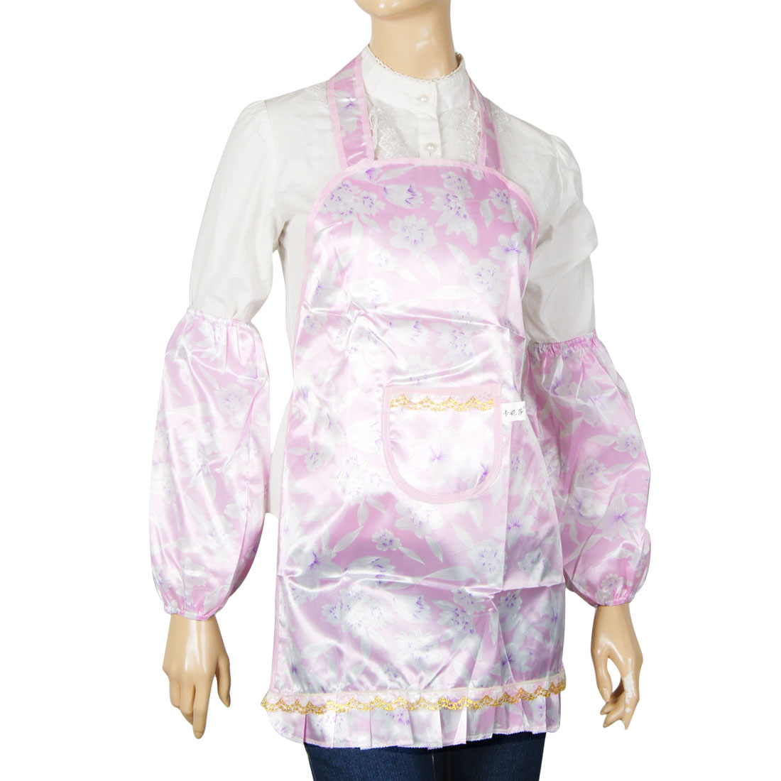 Flower Printed Light Pink Patch Pocket Kitchen Bib Apron for Woman
