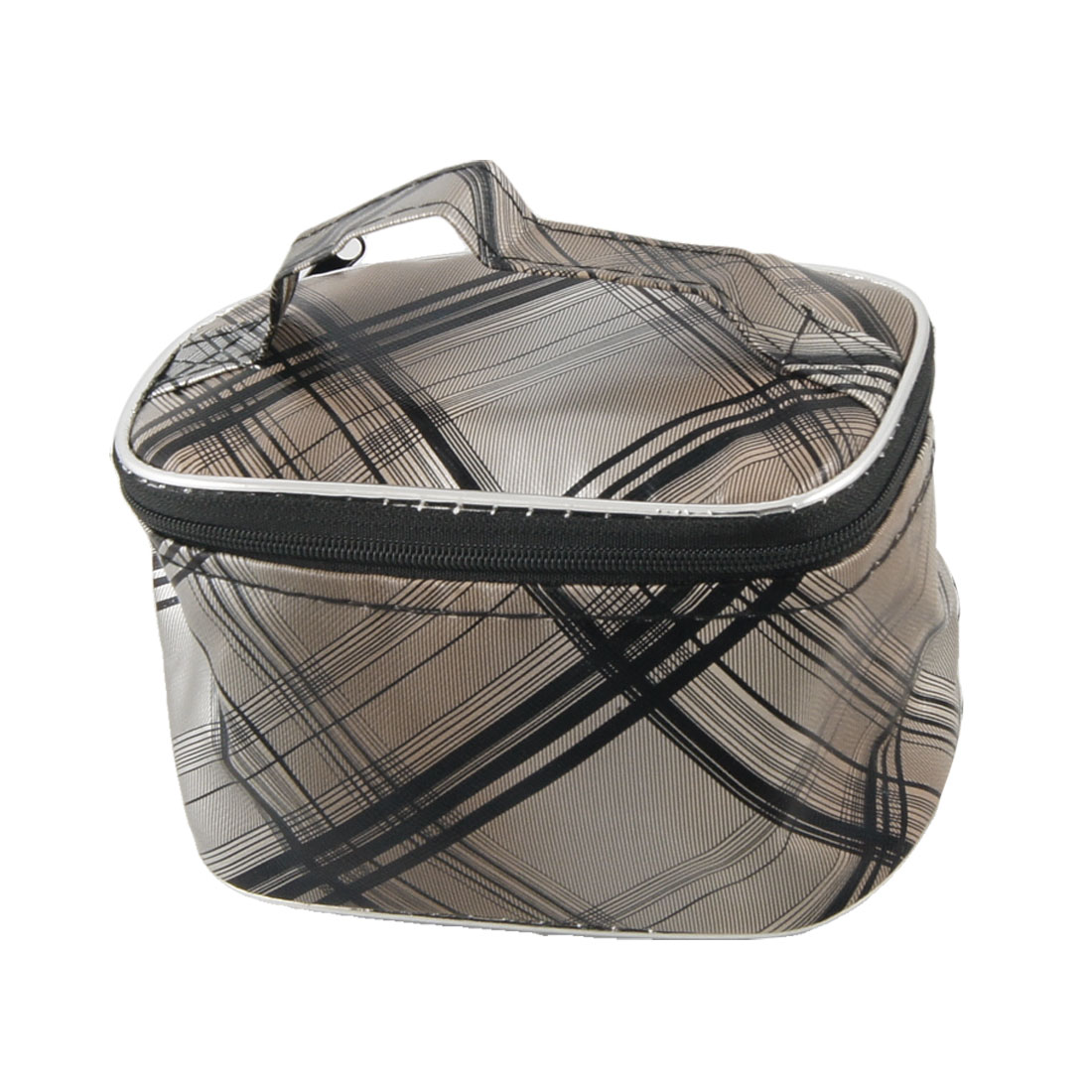 Travel Plaid Printed Black Dark Gray Zip up Makeup Cosmetic Container
