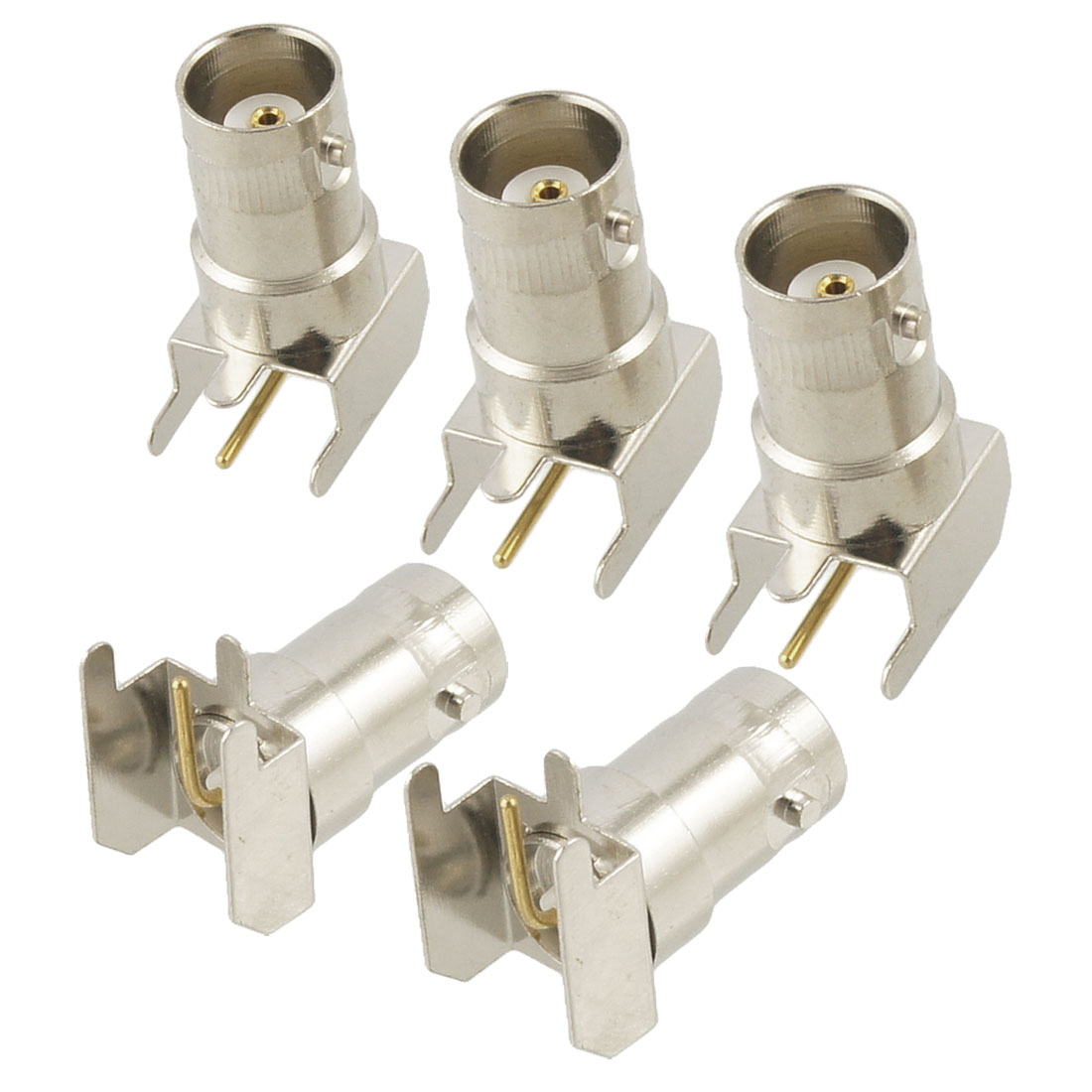 5 Pcs BNC Female Right Angle Solder PCB Mount RF Connector Adapter