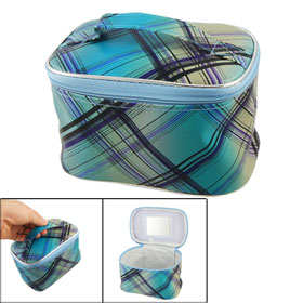 Blue Black Check Print Zippered Closure Cosmetic Holder Container