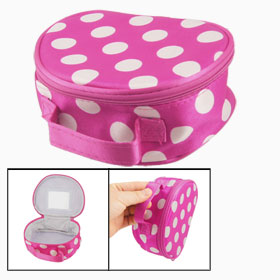 White Dots Print Zippered Closure Fuchsia Cosmetic Holder Container