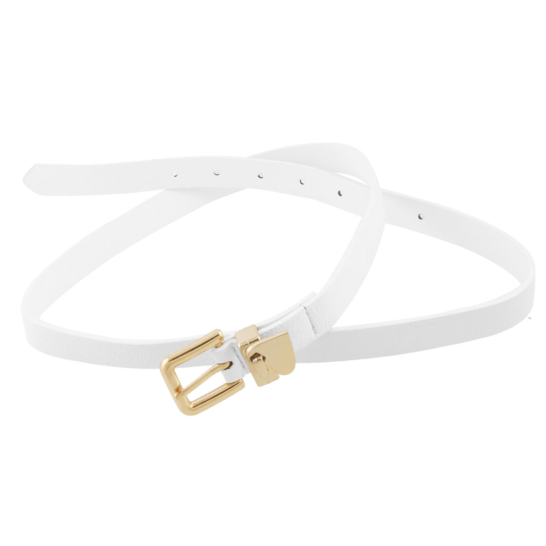 1.8cm Width Gold Tone Heart Decor Slide Buckle White Faux Leather Waist Belt