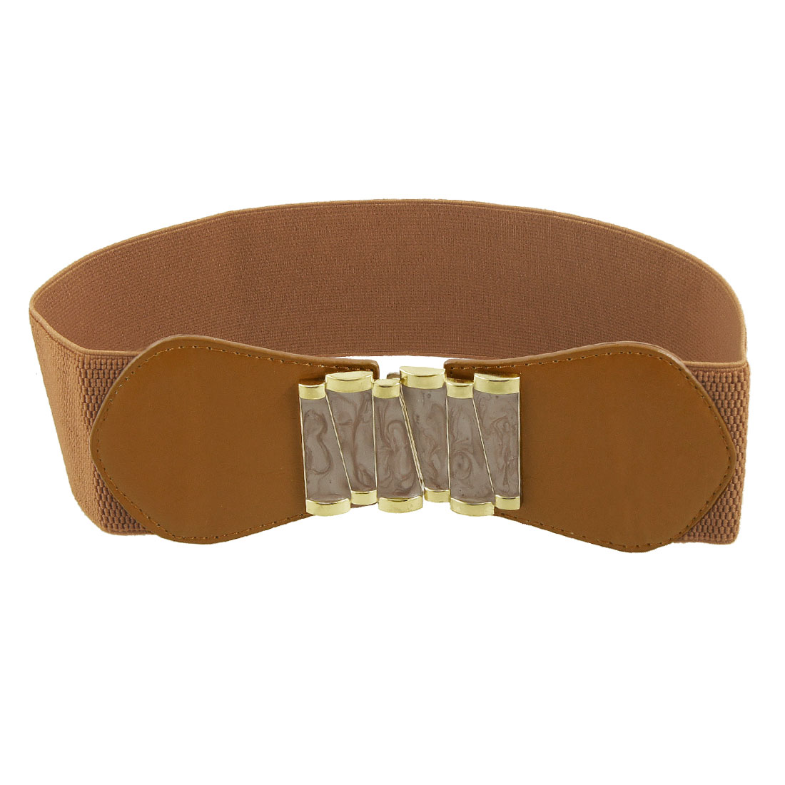Gold Tone Metal Interlocking Buckle Brown Elastic Cinch Belt for Woman