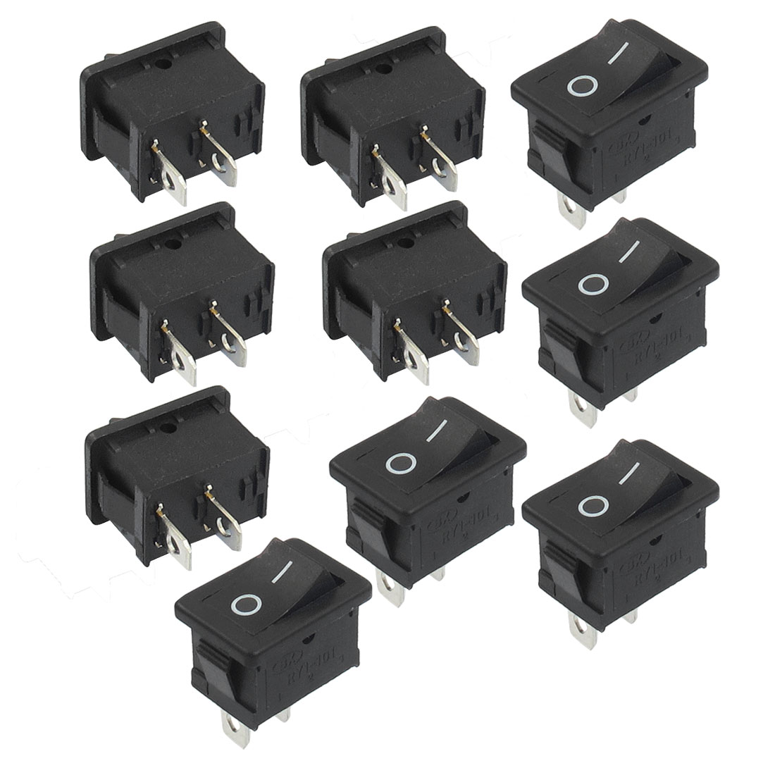 10 Pcs SPST Black On/Off Rocker Switch AC 250V/6A 125V/10A