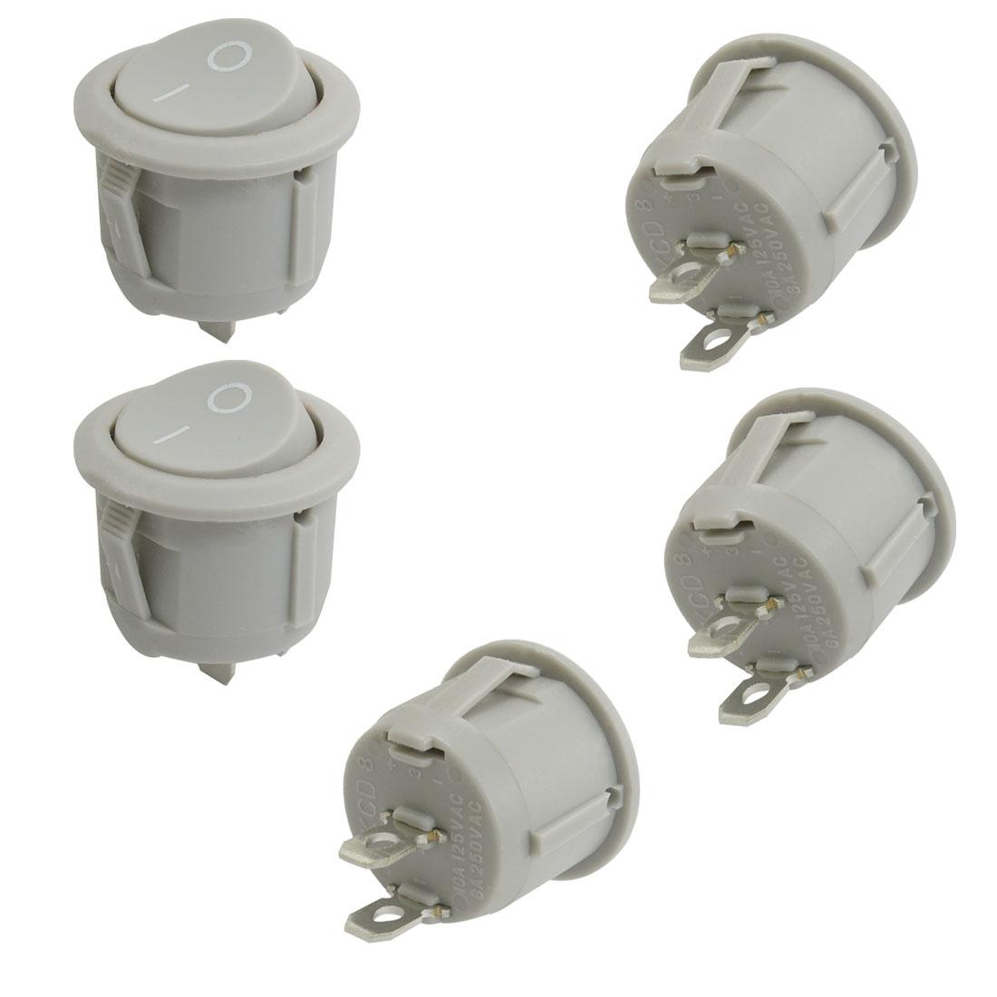 5 Pcs Round Gray SPST On/Off Rocker Switch AC 250V/6A 125V/10A