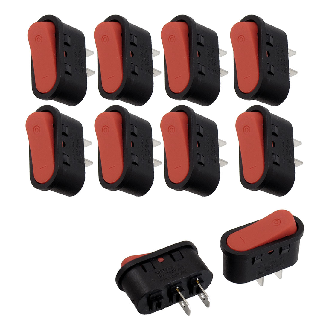 10 Pcs SPST Oval Red On/Off Rocker Switch AC 250V/6A 125V/10A