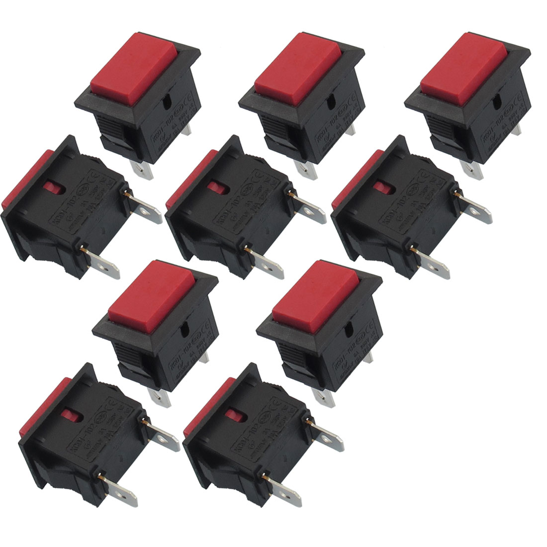 10 Pcs SPST Red Button Momentary Off Rocker Switch AC 250V/6A 125V/10A