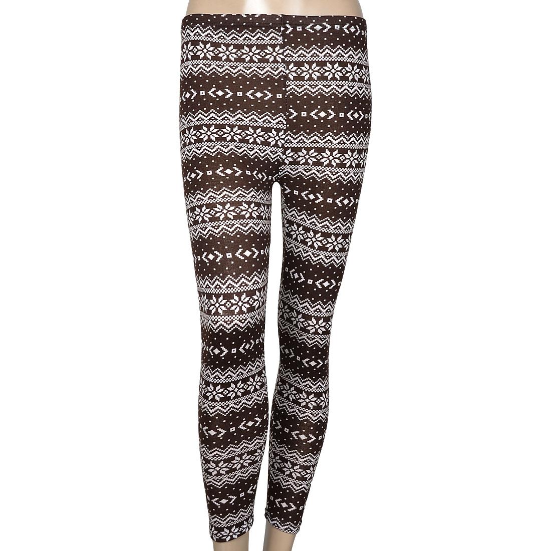 Women White Brown Snowflake Pattern Slim Fit Full Length Leggings XS