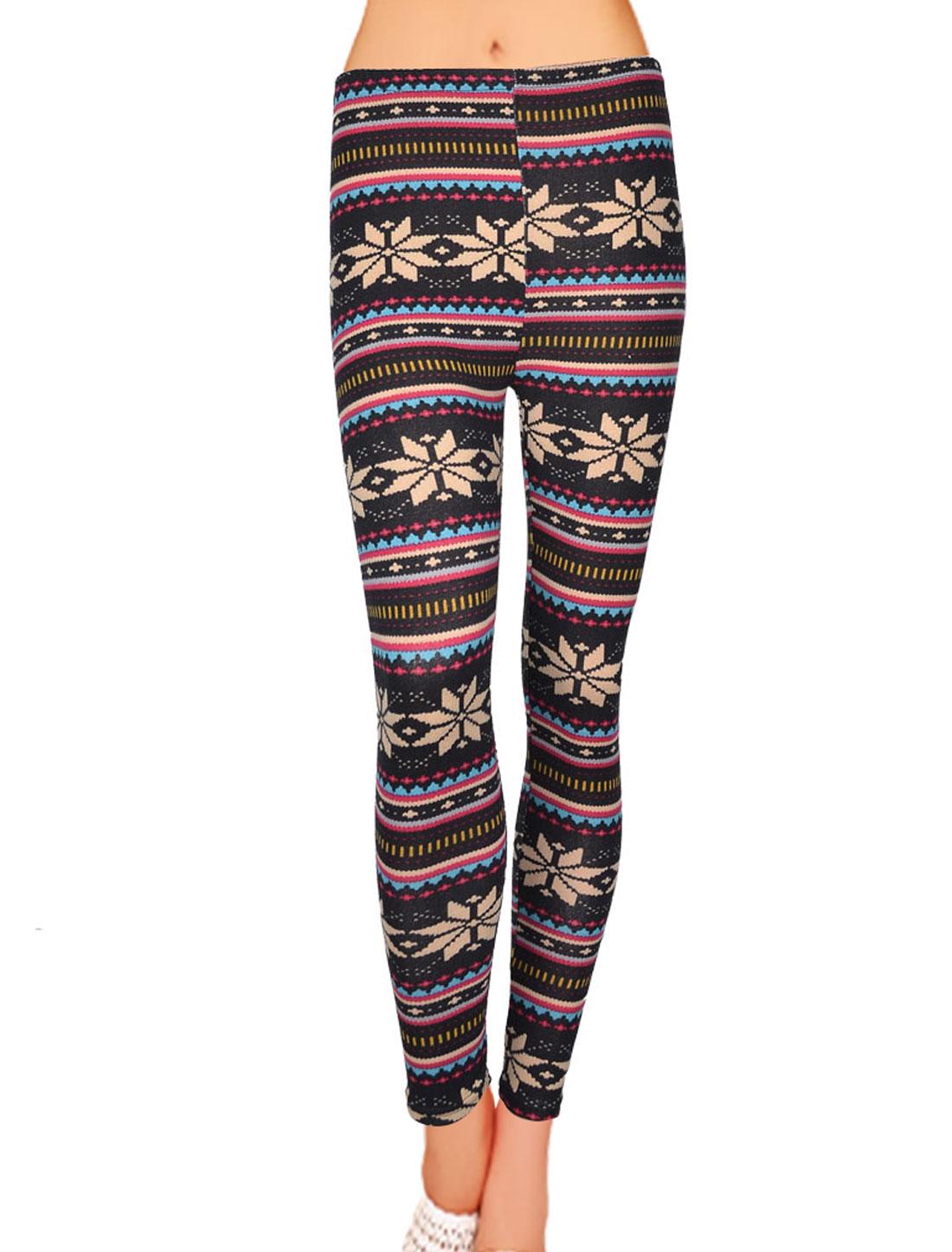 Women Snowflake Print Elastic Waist Slim Leggings Skinny Pants XS