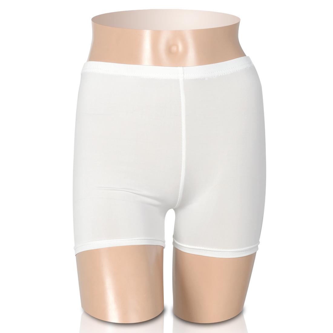 Women Elastic Waist Dance Shorts Safety Pants Leggings White XS