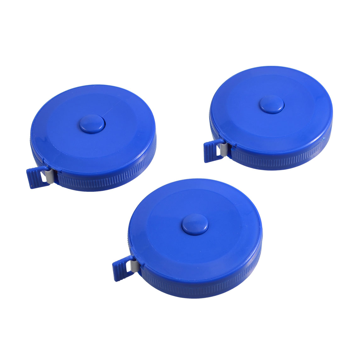 3 Pcs 150cm 60 inch Push Button Blue Case Soft Retractable Tape Measure