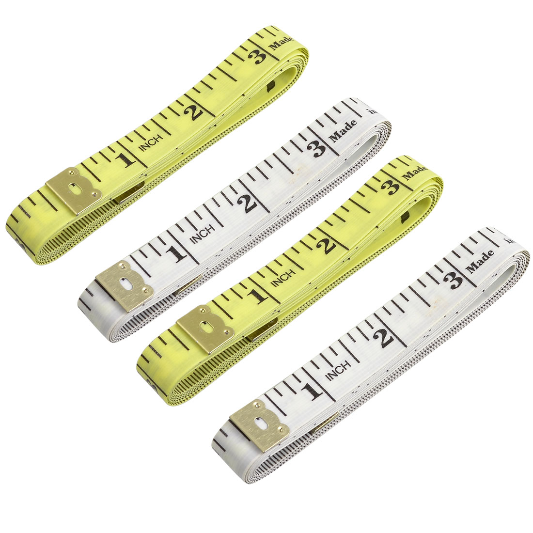 4 Pcs White Yellow Plastic Sewing Tailor Soft Ruler Tape Measure 150cm 60""